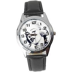 taport® Reloj Marilyn Monroe cuarzo negro cuero banda dial de color + batería de repuesto + bolsa de regalo