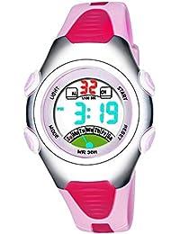 Las niñas de los relojes digitales, Kids 3 ATM impermeable de los deportes reloj con alarma, adolescentes para niños al aire libre deporte electrónico muñeca relojes para niñas - Rosa por rsvom