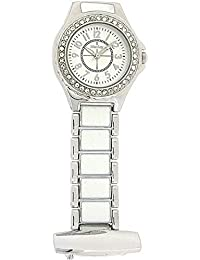 Henley Ladies Diamante Fashion Quartz Fob Watch with Silver Dial Analogue Display and Silver Stainless Steel Plated Bracelet HF06.1
