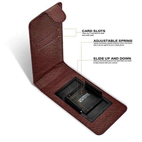 Fone-Case (Red) Apple iPhone 8 Plus Case style Clamp flip protection PU Housse en cuir Brown Universal Clamp Flip