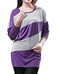 Allegra K Women's Color Block Batwing Sleeves Blouson Tunic