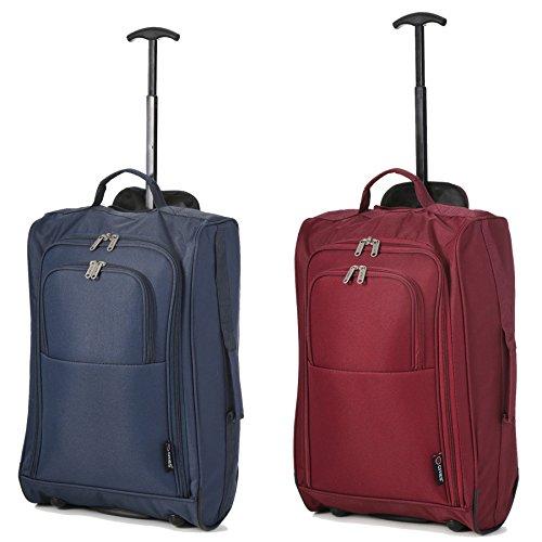 Set von 2 Leichtgewicht Handgepäck Kabinengepäck Flugtasche Koffer Trolley Gepäck (Marine + Wein) (Leichtes Gepäck-set)