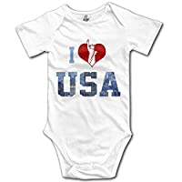 Socksforu Baby 100% Cotton Short Sleeve Onesies Toddler Bodysuit I Love USA The Unite State of Amrican White