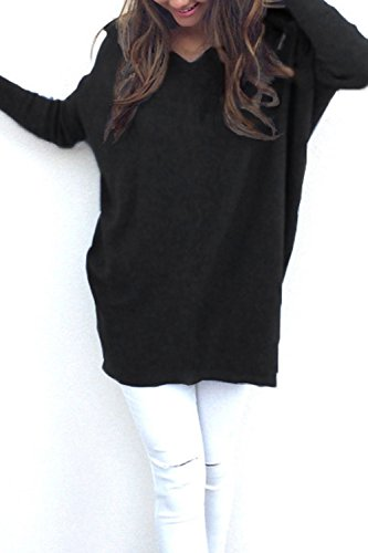 Sciolto Maglione Scamosciato Maglione Allentato Casual Manica Lunga V-collo Pullover Tops Black