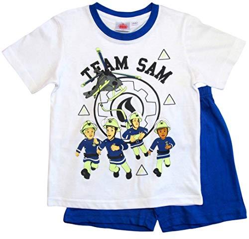 Feuerwehrmann Sam Schlafanzug Shorty Jungen (Weiß-Blau, 110)