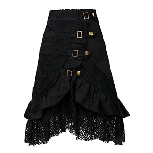 Damen Steampunk Kleidung Rock VENMO Party Club Wear Gothic Retro schwarzer Spitzenrock Röcke Punk...