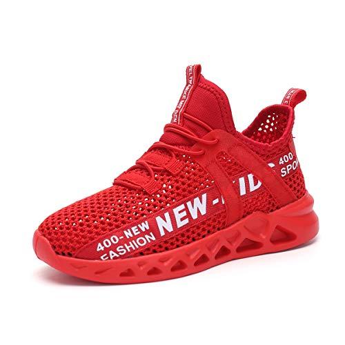 Sneakers da Ragazzo, Scarpe da Ginnastica Unisex per Bambini con Gancio E Anello Sneaker da Corsa All'aperto da Scuola in Mesh Traspirante,Red,38