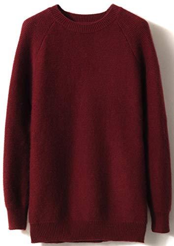 LinyXin Cashmere Damen Kaschmir Pullover Wolle Rundhals Langarm Freizeit Winter Warm Pulli Sweater (XL / 46-48, Rost rot) -