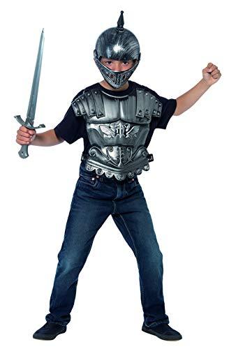 Fancy Ole - Jungen Boy Kinder mittelalterliches Ritter Kämpfer Krieger Kostüm Set mit Kopfschutz, Brustpanzer und Schwert, perfekt für Karneval, Fasching und Fastnacht, 116-140, Silber