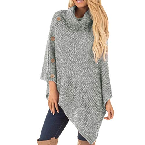 Sweaters Women's Knit Turtle Neck Poncho with Button Irregular Hem Pullover