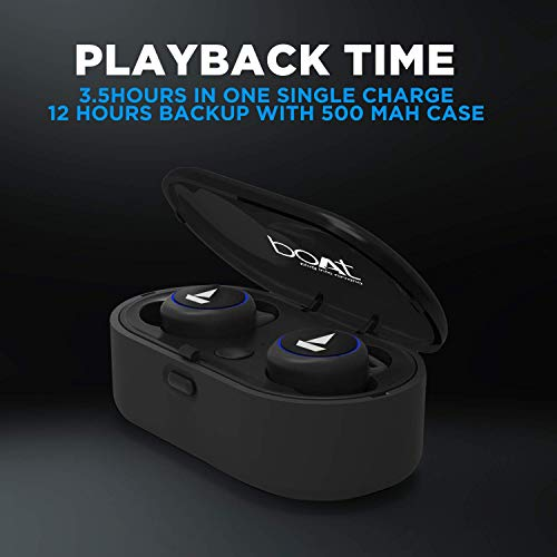 boAt Airdopes 311v2 True Wireless Earbuds (Bluetooth V5.0) with HD Sound and Sleek Design, Integrated Controls with in-Built Mic and 500mAh Charging Case (Energetic Black) Image 6