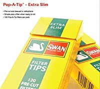 Swan 600 Extra Slim Filter Tips, Yellow, Pack of 5