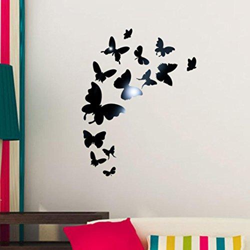 sunnymi 3D Schmetterling Acryl-Spiegel-Wand-Aufkleber DIY 14pcs Fernseheinstellungswand Dekorativen Aufkleber Wandaufkleber Wandtattoo Wandsticker (Schmetterling, Schwarz)
