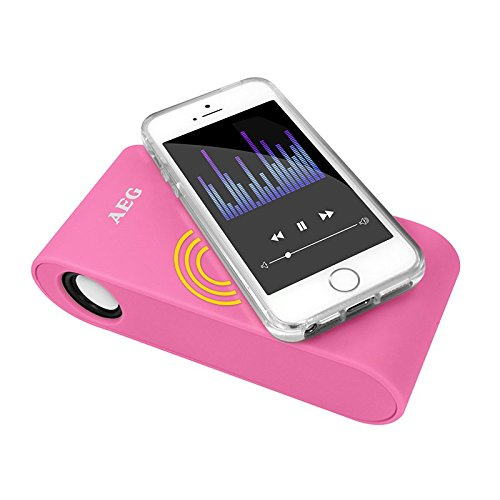 AEG Induktions Stereo-Lautsprecher Wireless pink geeignet u.a. für Huawei P8, Huawei P8 Lite