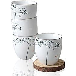 Tazas pintadas a mano. Diseño Chino de árbol. De Porcelana. (Pack de 4)