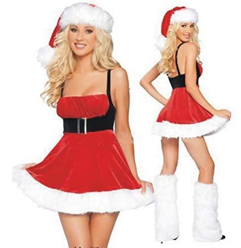 Olydmsky Weihnachtskostüm Damen,Europäische und amerikanische Weihnachten Anzug sexy Schulterfreien Hals Weihnachtskugel Rock Make-up cos Weihnachten Kleid