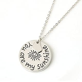 Veuer Jewellery for Ladies, Girls, Necklace in Silver, You Are My Sunshine Pendant, Laughing Sun Gift for Christmas, for Girlfriend, Wife, Women