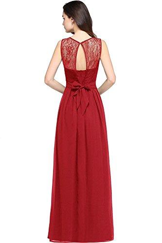 MisShow Robe de Cérémonie Formelle Longue en Mousseline Elégante Florale Swing Dentelle pour Femme Robe de Fête Chic Longue Grande Taille par Rouge 44