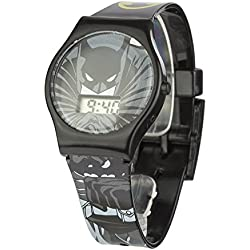Batman Children's Digital Display Watch with Grey Dial and Black Plastic Strap BAT4DC