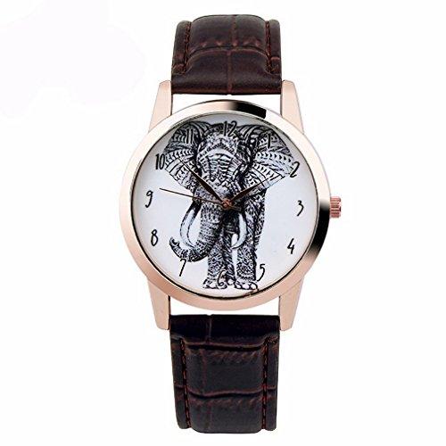 Souarts Damen Armbanduhr Einfach Stil Elefant Muster Analoge Quary Uhr mit Batterie Braun