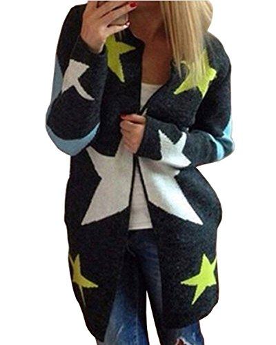 Cardigan Maniche Lunghe Moda Jumper Outwear Elegante Maglia Jacket Sweatshirt Tops Stampa della Stella-LATH.PIN