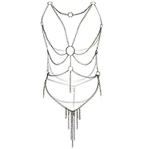 ASEOK Frauen Sexy Body Harness Leder und Metallkette Cupless Bh Vest und G-String Bikini-Kostüm Dessous, Damen Body Sexy Unterwäsche Sets, Open Cup Perspektive Harness Iron ()