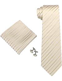 Landisun 68F ivoire Stripes Homme Soie Ensemble:Cravate Boutons De Manchettes Mouchoir