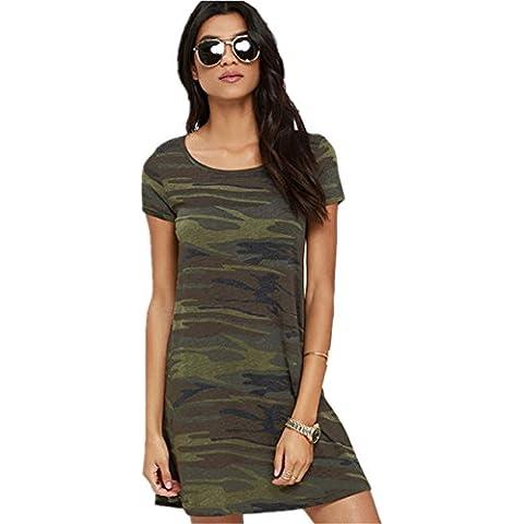 Sexy Camouflage Camo Army Verde Modello Mini Corti Corto T-Shirt Babydoll Vestito Abito