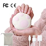 Chauffe-mains réutilisables USB Portable rechargeable Power Bank 5000mAh 2en 1avec sac en velours Meilleur Cadeau pour femmes, enfants Rose