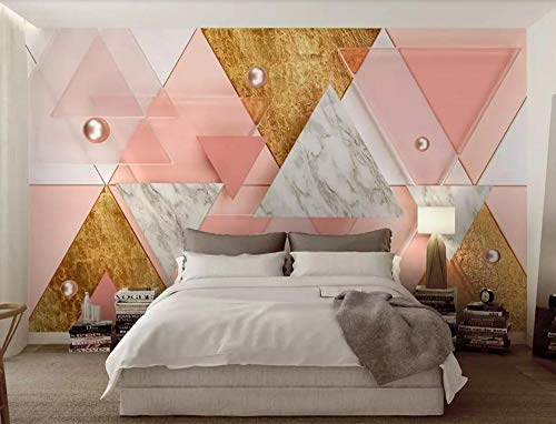 Fototapete 3D Effekt Tapete Moderne Geometrie Des Rosa Luxusdreiecks Vliestapete 3D Tapeten Wanddeko Wandbilder Wohnzimmer,300cmX210cm