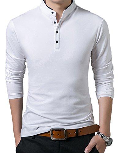 Polo Manga Larga con Cuello Mao Golf Camiseta para Hombre