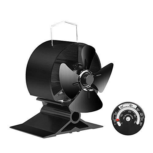 JKsmart Mini Ventilator für kleinen Platz auf Holz/Holzbrenner / Herd/Kamin, Eco Friendly Silent Kleiner Ventilator (schwarz)