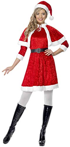 Damen Weihnachtsmann Großbritannien Kostüm - Smiffys Damen Weihnachtsfrau Kostüm, Kleid, Cape, Mütze und Gürtel, Größe: S, 29005