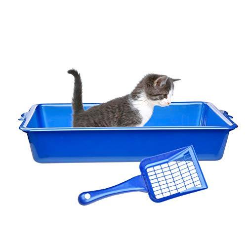 Zantec Lettiera Plastica Atossica Sicura per Gatti Resistenti agli Odori con Paletta 45,5 * 30 * 8cm Facile da Pulire, Colore: Blu