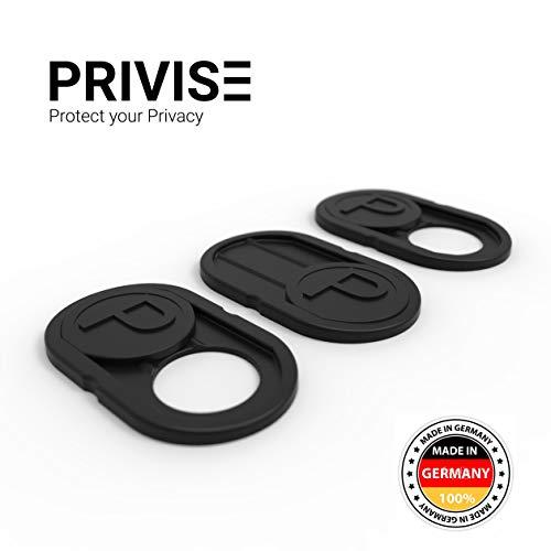 Privise© Webcam Abdeckung Made in Germany | Webcam Cover 3er-Set schwarz • für Laptop  MacBook, iMac & Handy • Ultra dünn • Sticker mit starkem Halt • wirksamer Schutz der Kamera vor Hackern