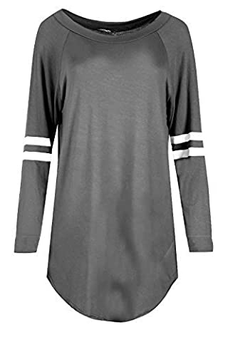 Womens Ladies Sports Stripe Long Sleeve Plain Round Neck Curved