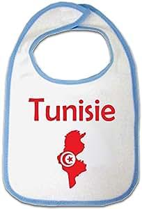 Yonacrea - Bavoir Bleu Bébé - Carte Tunisie avec son Drapeau