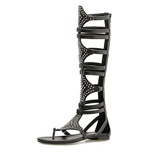 Schwarze Frauen Gladiator römische Sandalen PU offene Zehe Kniehohe Niete beiläufige Keilstiefel flach mit Fashion Solid billig tragbar, 36