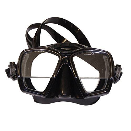 Polaris Plus Tauchmaske mit Lesegläsern +1,75 Korrektur Dioptrien Taucherbrille (Schwarz/Schwarz)