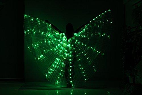 Tofern Bauchtanz Belly Dance Flügel LED mit 2 Stöcke teleskopisch 360 Grad für Bühnen Weihnachten Cosplay Party, Grün