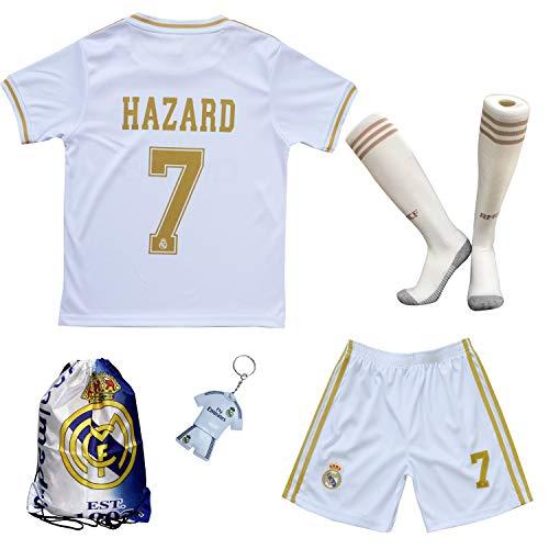 2019/2020 Real Madrid #7 Eden Hazard Heim Kinder Fußball Trikot Hose und Socken Kindergrößen (Heim, 26 (9-10 Jahre))