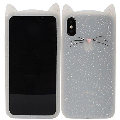 iPhone X Fall, Phenix-Color 3D Cute Cartoon Soft Hello Kitty Silikon Gel Back Cover Case für iPhone X (2017) Fall AMP Prime, 34 (Iphone Cute Cases)