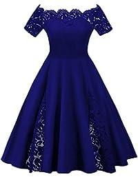 YTJH Mujer Vestido de Fiesta Corto Vestidos de Encaje Floral Elegante Vintage Falda Bodas Cóctel Talla