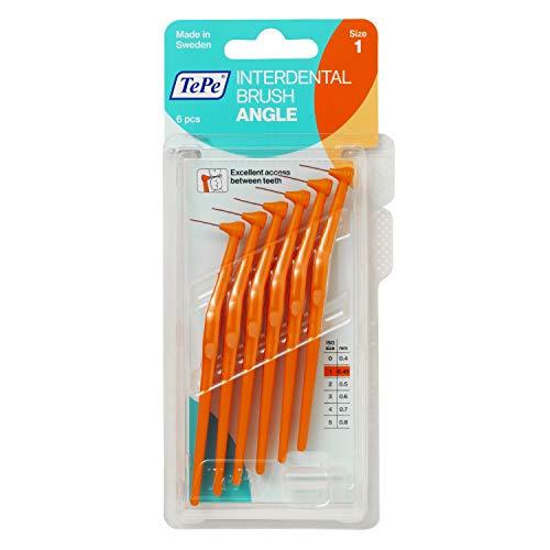 TePe Angle Interdentalbürsten Orange (ISO Größe 1: 0,45 mm) / Kontrollierte Reinigung der Zahnzwischenräume auch an schwer zugänglichen Stellen / 2 x 6 Angle Interdentalbürsten