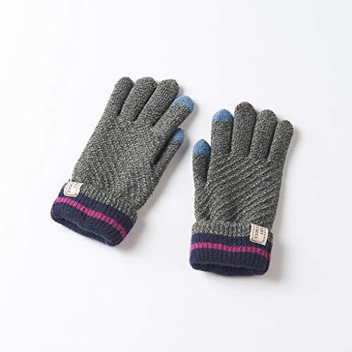 MXD Handschuhe 7-10 Jahre alt Kinder Handschuhe Jungen und Mädchen Winter Warm Bike Verdickung Kinder Strickhandschuhe (Color : Dark Gray)