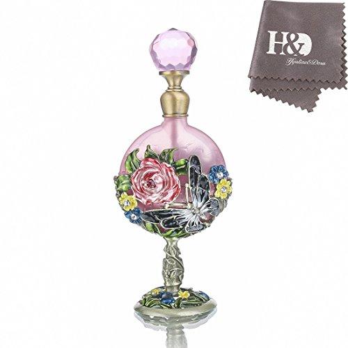 H&D 7 ml Vintage Parfüm Flasche Fancy Pink Rose Muster ausgleichend Antike Antik Parfüm Flaschen leer nachfüllbar handgefertigt Ornament Cute Pink