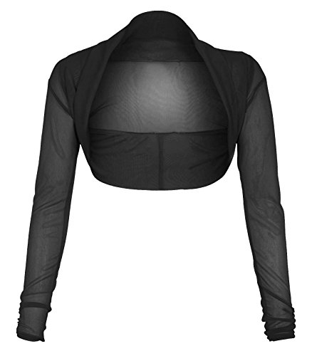 Neue Frauen Plus Size Langarmshirt transparentem Netz Bolero Shrug Top 36-50 Schwarz