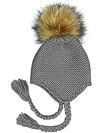 Xuxuou 1 Pieza Gorro de Orejeras de Bebé Sombrero de Bola de Pelo Sombrero  de Punto 661807544e4