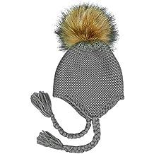 Xuxuou 1 Pieza Gorro de Orejeras de Bebé Sombrero de Bola de Pelo Sombrero  de Punto c1741dec2d9
