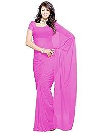 Floral Trendz Women's Chiffon Saree With Blouse Piece (V Plain Pink)